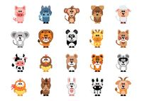 Set of pixel art animal icons