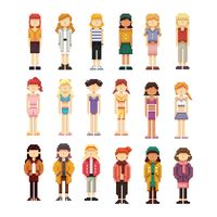 Set of pixel art women fashion icons