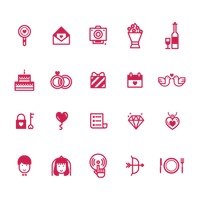Set of romantic icons