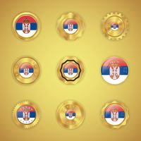 Set of serbia flag buttons