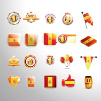 Set of spain flag icons