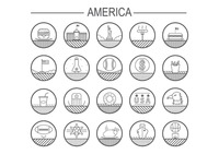 Set of united states of america icons