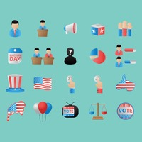 Set of us election icons