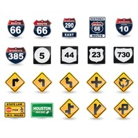 Set of us road sign icons