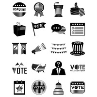Set of usa election icons