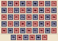 Set of usa state postage stamps