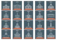 Set of usa states capitol icons