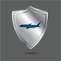 Shield with aeroplane icon