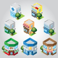 Shop buildings set