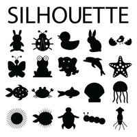 Silhouette of animals and fishes