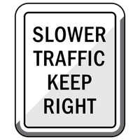 Slower traffic keep right road sign