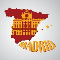 Spain map with royal palace of madrid