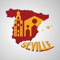Spain map with seville cathedral