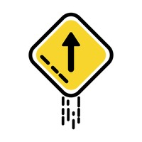 Straight arrow auxiliary sign