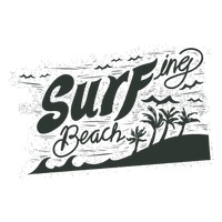 Surfing beach typography