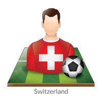 Switzerland player with soccer ball on field