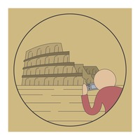 Tourist taking a picture of colosseum