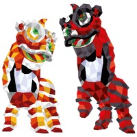Traditional lion dance performance Vector Image - 1417001 ...