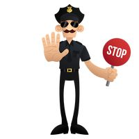 Traffic policeman with stop signboard