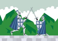 Two knights fighting with swords