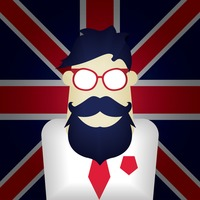 United kingdom flag with a gentleman