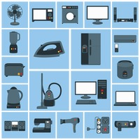 Various home appliances and household items