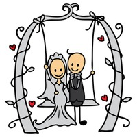 Wedding couple on a swing