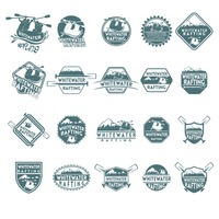 Whitewater rafting icons