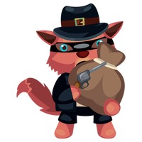Wolf character as a robber