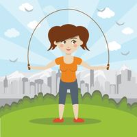 Woman having fun skipping rope in the park
