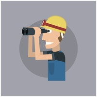 Worker with binoculars