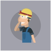 Worker with head torch and spectacles
