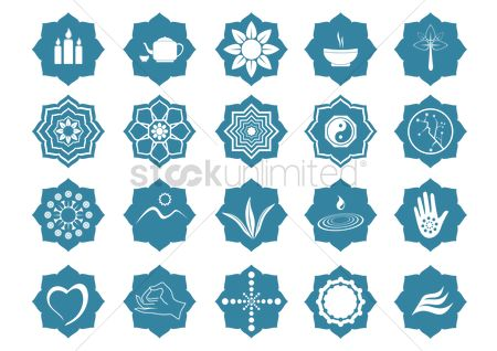 Water : Assorted yoga and zen icon set