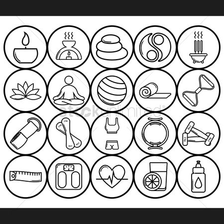 Spa : Assorted zen and exercise icon set