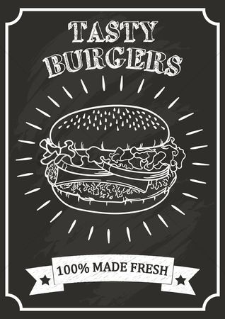 Grunge : Burger poster on chalkboard