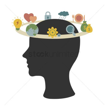 Brain : Circular path of various concepts in human head silhouette