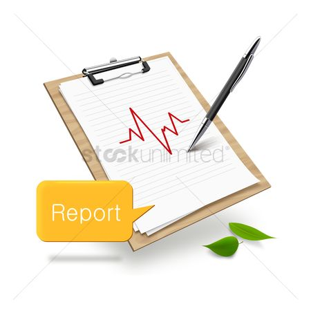 Vectors : Clipboard with medical report and speech bubble