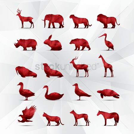 Birds : Collection of faceted animals
