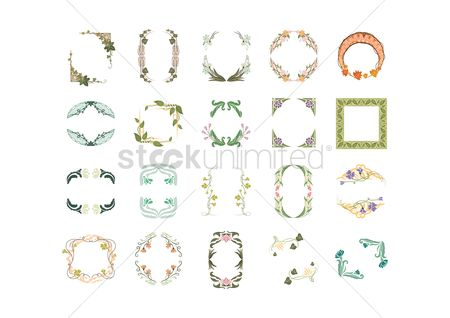 Vectors : Collection of floral frames