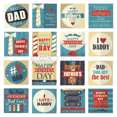 Vintage : Collection of happy father s day cards