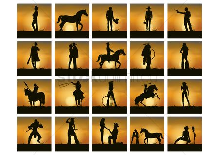 Romantic : Collection of man ans woman silhouette