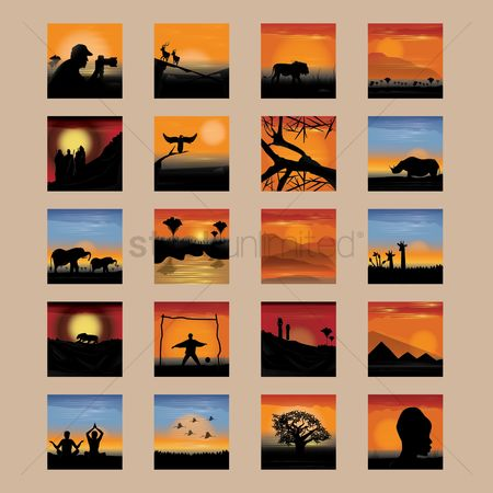 Animals Wildlife : Collection of various nature silhouettes