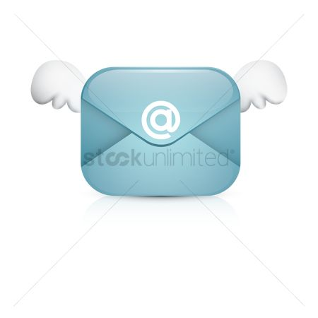 Vectors : Email with wings