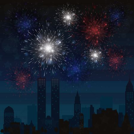 Wallpapers : Fireworks in a city skyline