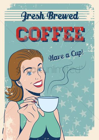 Vintage : Fresh brewed coffee poster