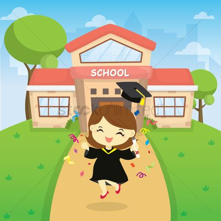 Celebration : Girl graduated from school