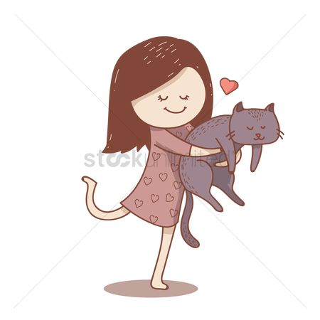 Animal : Girl with cat