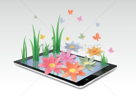 Ribbon : Grass and flowers on tablet