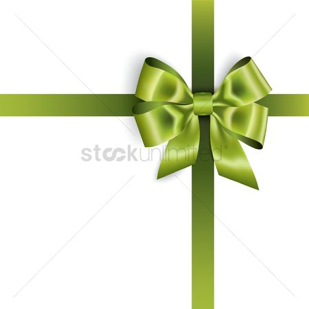 Ribbon : Green bow isolated on white