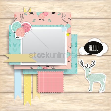 Ribbon : Greeting cards on wooden plank